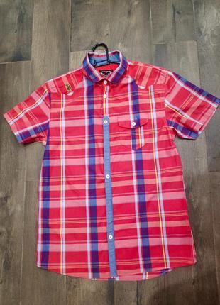 Стильная хлопковая рубашка в клетку luxe, 10-12 лет. новая!