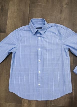 Шикарная голубая рубашка в клетку от next, 7 лет. новая!