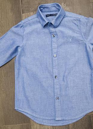 Шикарная хлопковая голубая рубашка next, 4 года. новая!