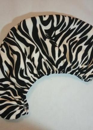 Чалма тюрбан для сушки волос зебра