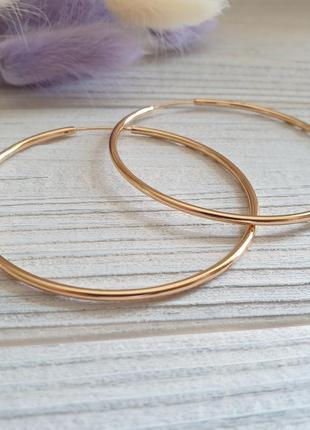 Серьги кольца 6.5 см xuping. позолота 585 проба, 18к, круглые серёжки. медицинское золото