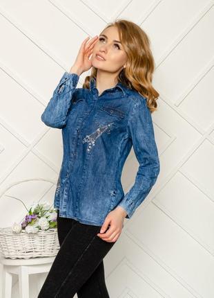 Женская рубашка джинс коттон