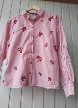 Хлопкова рубашка с вышивкой в мелкую полоску primark