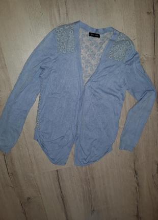Кофта накидка размер s м new look голубая хлопок с сеточкой