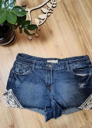 Шорты джинс +кружево