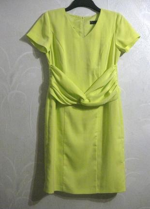Платье bpc selection жёлтое лимонное неоновое миди футляр кнарядное классическое