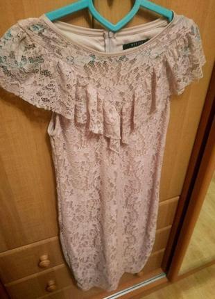 Платье нежно розовое пудровое кружевное пудра на xs - s mohito