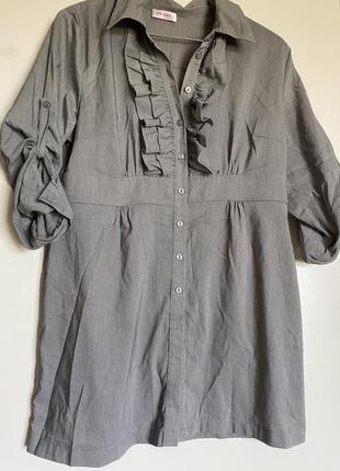 Рубашка удлиненная мелкая клетка
