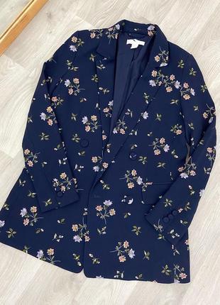 Піджак синій в квітковий принт h&m