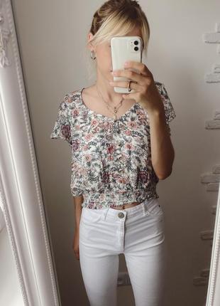 Блузочка в цветочный принт, блузка на резинке в цветочек, рубашка