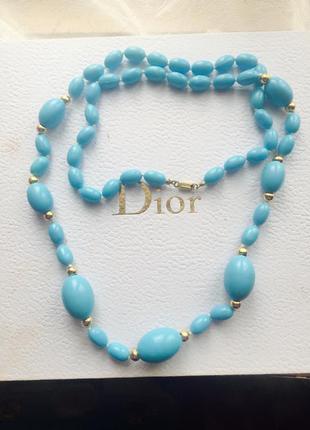 Голубые бусы ожерелье
