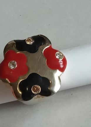 Массивное дизайнерское кольцо 19,5 размер с золотым покрытием и эмалью италия
