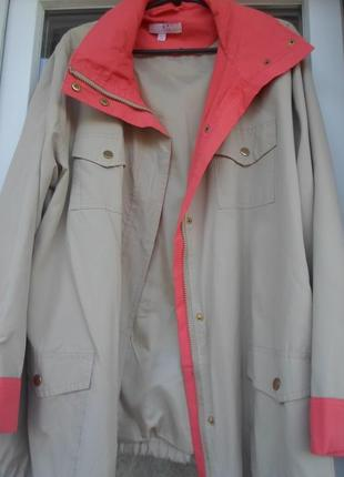 Куртка-ветровка 58-60р-р бежевая с коралловым,новая