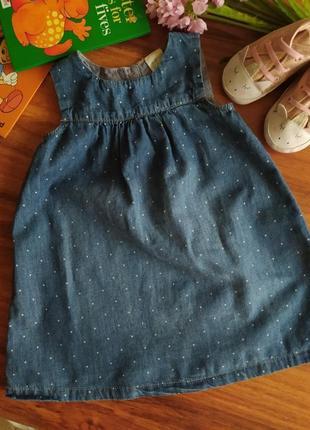 Модный летний джинсовый сарафан на малышку hm на 12-18 месяцев