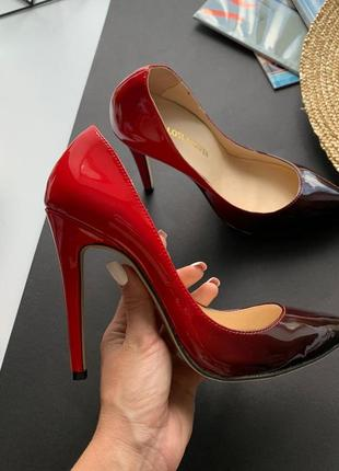 👠изысканные красные туфли лодочки/лодочки красно-чёрное омбре высокий каблук👠