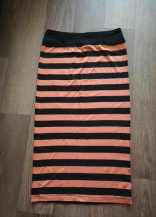 Юбка миди в полоску, полосатая юбка футляр