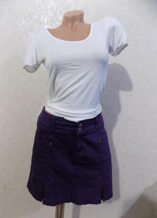 Юбка джинсовая фиолетовая фирменная etam размер 44