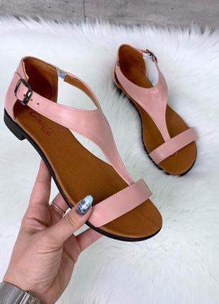 Новые женские кожаные пудровые босоножки сандали