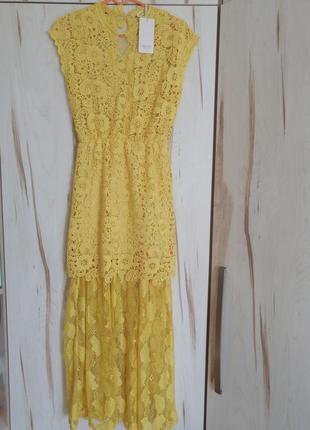 Италия! luisa loire нарядное жёлтое кружевное платье в пол гипюр открытая спина m/l