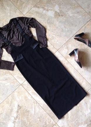 Ідеальна чорне плаття-сарафан атласними вставками{ кофта в 🎁}