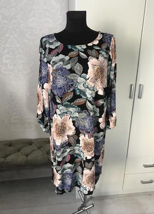 Платье туника в цветочный принт