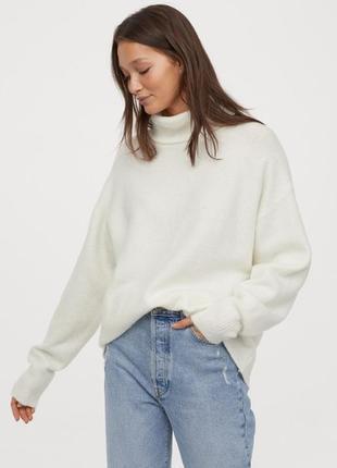 Базовый крутой свитер под  горло, шерсти 55%