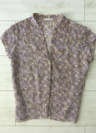 Цветочная блуза на пуговицах