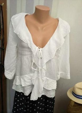 100% лен , италия, шикарная  летняя блуза с воланами на завязке, на м,л,