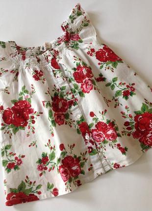 Легкая хлопковая туника в цветы блуза топ