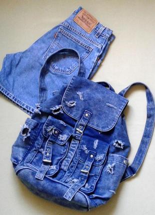Крутой рюкзак topshop джинсовый рваный