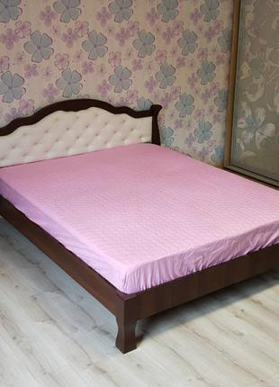 Наматрасник розовый с бортами микрофибра