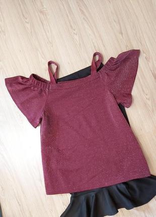 Трендовая блуза-с оголеными плечами,f&f
