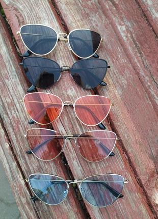 Коралловые очки в золотистой оправе солнцезащитные очки модные очки