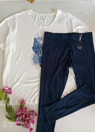 Котоновий комплект для дома и отдиха футболка + лосини 2хл-3хл, esmara