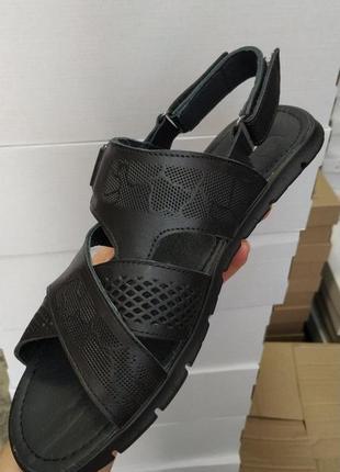 Мужские сандали, кожа, перфорация, размер 45
