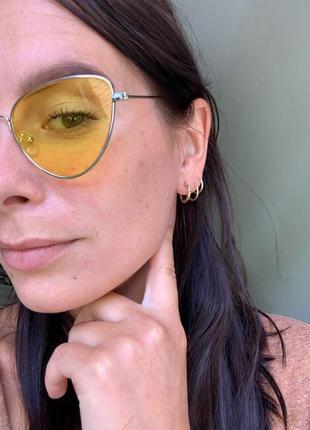 Модные женские желтые солнцезащитные очки ретро