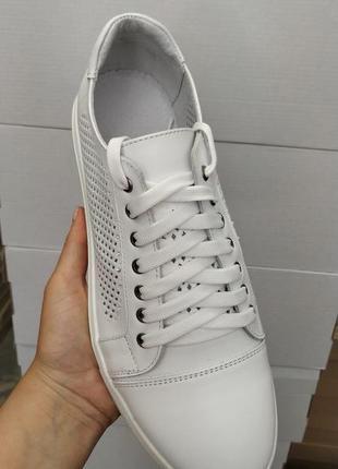 Мужские кожаные макасины на шнуровке, перфорация, размер 41