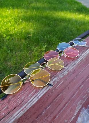 Стильные круглые  солнцезащитные очки голубого цвета, хит сезона, бестселлер 2020
