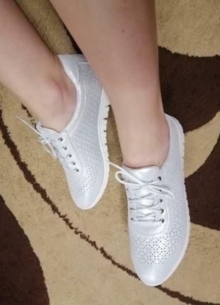 Удобные туфли, перфорация,кожа, размер 37