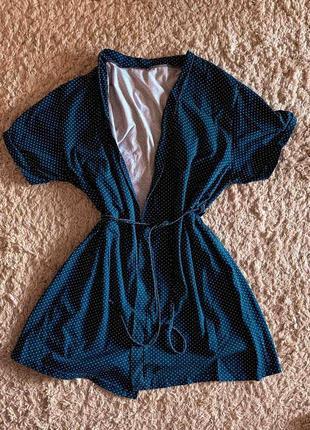 Синий,трикотажный халат в горошек