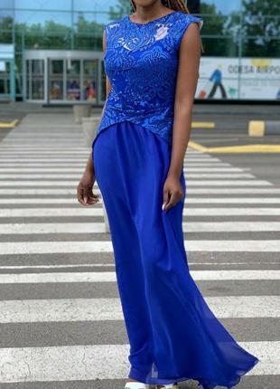 Шикарна шифонова довга сукня з пайєтками