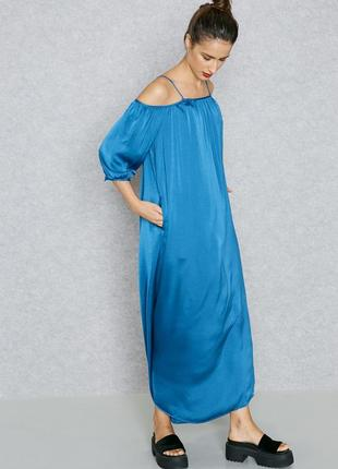 Легкое длинное летнее платье макси, сарафан на тонких бретелях mango