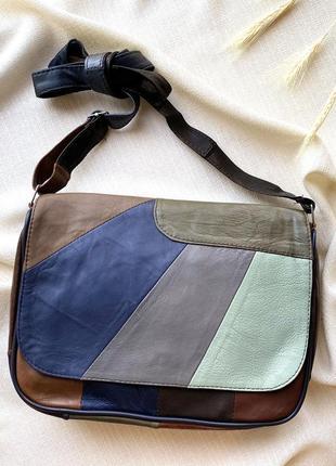 Кожаная сумка стильная милая вместительная