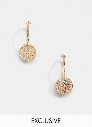 💝 стильные серьги-колечки с подвесками монетка от liars&lovers оригинал с сайта asos