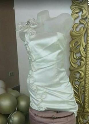 Шикарное свадебное/вечернее/белое нежное платье aja турция