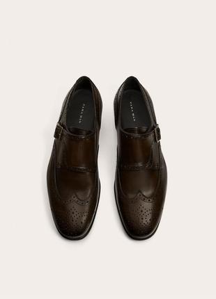 Кожаные туфли / монки zara man с застежками !