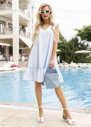 Голубое платье-трапеция без рукавов