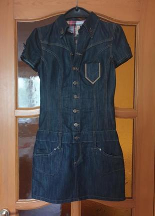 Стильное джинсовое платье заниженная талия