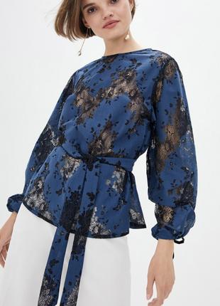 Блуза з рукавом бішоп, з шовкового гіпюру