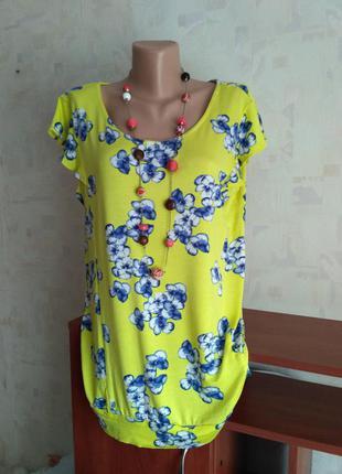 Красивая, яркая блуза туника george цветочный принт, большой размер, батал, 50-52